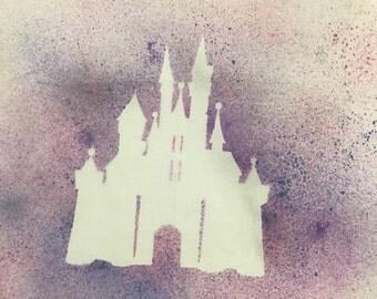 Disney Castle Spray Paint T-shirt