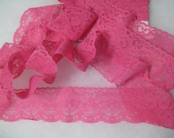 Vintage Flat Lace 3 yards Hot Pink For Costume Design, Altered Couture, Scrapbooking, Jewelry