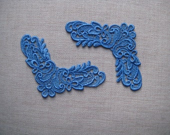 2 appliques blue Venise Lace look for jewellry, clothes or alt art