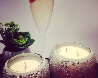 Champagne & Strawberries Mosaic Soy Candle