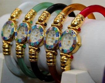Elegant resin banded glass watches with millifiore dial (assorted colors)