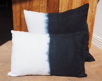"""Cushion linen white """"Tie & Dye black"""" Collection """"Queen of the Mystic"""" 100% handmade"""