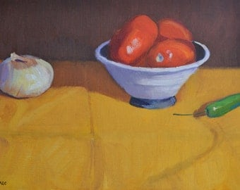Kitchen art, Onion tomato and peppers, still life, oil painting, realism, food art