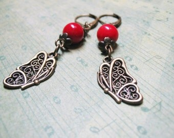 Red Coral Earrings Red Earrings Vintage Earrings Beaded Jewelry Dangle Earrings Romantic Earrings Butterfly Charm Red Coral Jewelry