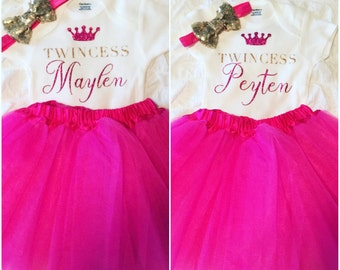 Twincess Onesies and Bows Set