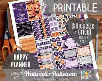 Watercolor Halloween Weekly Printable Planner Stickers, Happy Planner Stickers, Weekly Stickers, Halloween Stickers, Mambi - Cut files