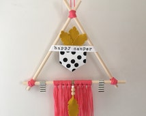 teepee wall hanging tribal kids and baby room decor happy camper