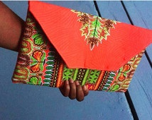 Bright Coral Clutch Bag- Authentic Wax African Fabric- Ankara handbag- Fold Over Envelope Clutch Bag