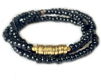 Triple Wrap Gold and Black Bracelet