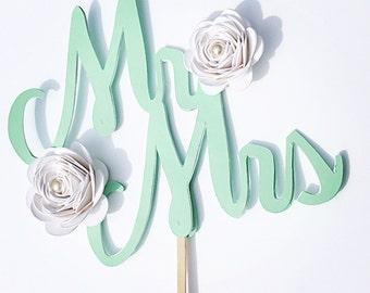 Mr Mrs cake topper.   Wedding cake topper. Bachelorette cake topper.  Mint green cake topper.   Wedding cake decor.   Flower cake topper
