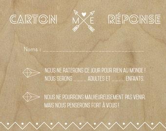 Cardboard response - RSVP wedding - Scandinavian style - bottom wood - clean