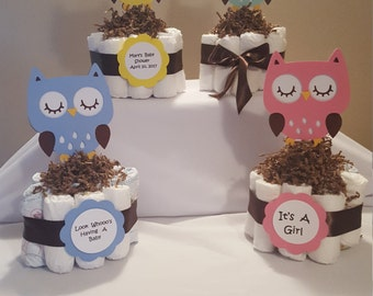 Diaper Cake, Owl Diaper Cake, Baby Shower Centerpiece, Mini Diaper Cake, Custom Diaper Cake, Diaper Cake Centerpiece, Personalized Diaper