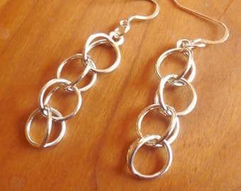 Rain Chain - Sterling Silver Earrings Made with 3D Printing Technology | MADE-to-ORDER | 3D printed earrings | Cast metal earrings