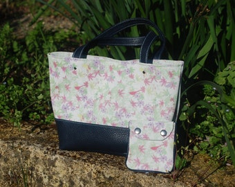 Pouch floral leather handmade and wallet matching