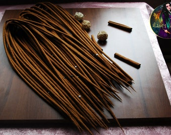 Set of natural color wool dreads