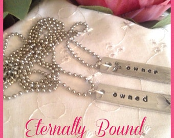 BDSM necklace set,Owner,owned.Master/submissive/chain/day collar,slave,kinky,Dom jewellery,stainless steel,aluminium hand stamped tags,