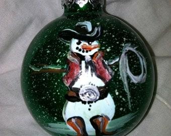 Cowboy Snowman Christmas ball (custom)