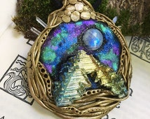Galactic Rainbow Bismuth & Moonstone • Astral Ascension • Rave Heady Galaxy Space Cosmic Alien Crystal Clay Pendant • Celestial Beings