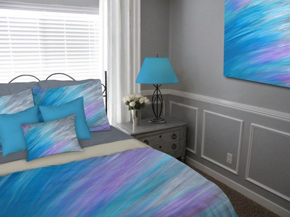 , Duvet Cover Jewel tone, King Queen full twin, Turquoise, Bedding ...