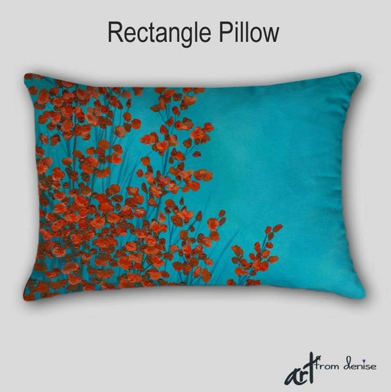 Throw Pillow Abstract art Red turquoise teal by