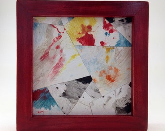 Acrylic Collage, Collage on wood, Red frame, 1980's colors