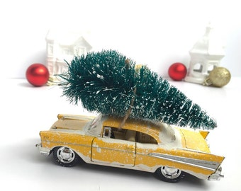 1957 Chevy Bel Air Christmas Decoration - Retro Yellow - Mid Century  Christmas - Christmas Mantle Decor - Colorful Christmas - Gift Idea