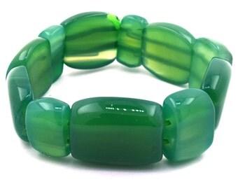 """20mm green onyx stretch bracelet 7.5"""" 38098"""