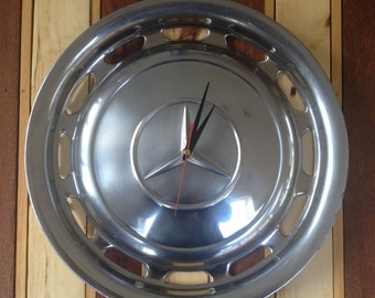 "15"" wall clock Up-Cycled from an 80's Chrome Mercedes Hub Cap"