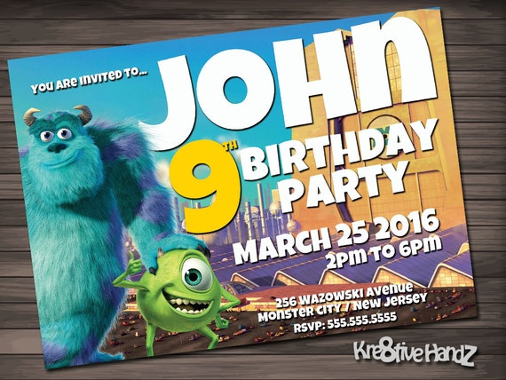 Monster Inc. birthday invitation - personalized printable invite for any age girls or boys birthday party - includes free thank you card