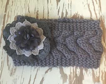 Ladies Knitted and Embellished Earwarmer / Headwarmer in Grey Tones