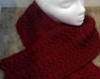 Hand Knit Red Scarf