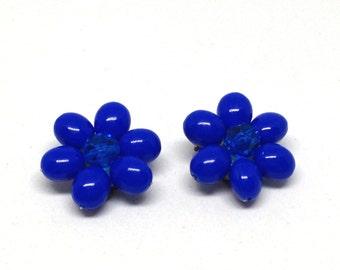 Vintage Estate Costume West Germany Royal Blue  Beaded Cluster Clip On Earrings