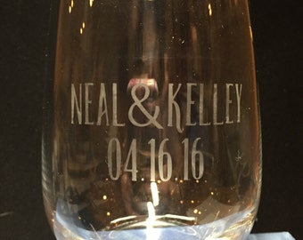 Customized Etched Stemless Wine Glass