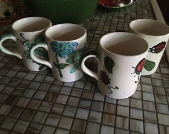 USA handmade ladybug or dragonfly cup