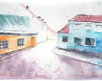 SALE Sweden town Original impressionist watercolour painting Swedish purple blue yellow Colorful Scandinavian Wall art Gift ideas
