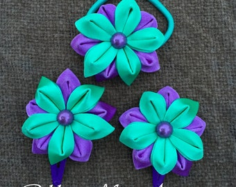 Girls Hair Clip/Ponytails holder, Set of 3 Hair Accessories, Kanzashi style flowers, Turquoise and purple
