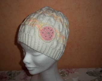 knitted, white orange Beanie, Cap for children
