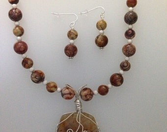 Brown mossy agate necklace and earring set