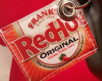 Recycled Red Hot Frank's ® Hot Sauce Wrapper Purse Charm Key Chain FOB Luggage Tag