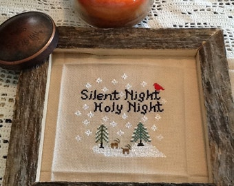 Silent Night Holy Night Woodland Pattern, Digital Pattern, Color and Black and White Patterns, Cross stitch