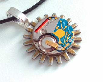 Upcycled, cog pendant,  watch movement, Steampunk pendant, steampunk necklace, steampunk, handmade steampunk, steampunk pendant necklace, #7