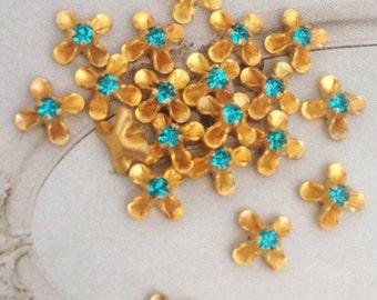 10 vintage blue zircon aqua swarovski austrian crystals in brass setting 2.5mm crystal no.sf18bz-11
