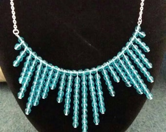 Pretty aquamarine crystal glass necklace