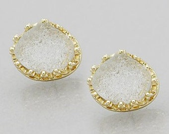 White Druzy Solitaire Stone Organic Shaped Stud Earrings
