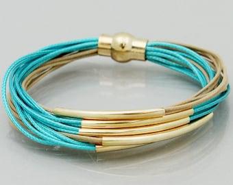 Turquoise & Tan Multi Strand Magnetic Bracelet