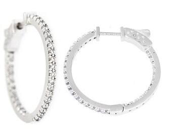 Stunning Sterling Silver Encrusted Hoop Earrings