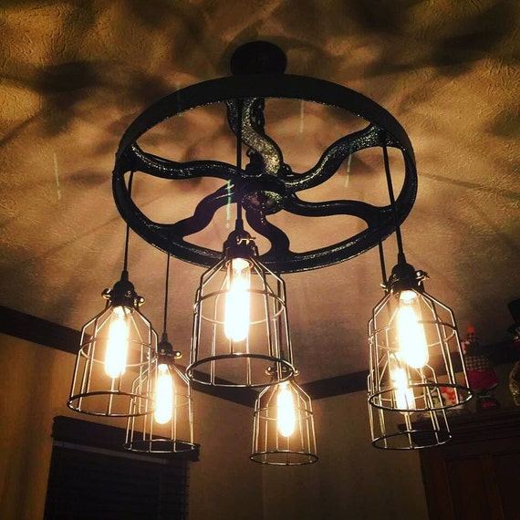Just Reduced Rustic Handmade 3 Bulb Hanging Light Fixture Or: Antique Pulley Wheel 6 Light Custom Made By