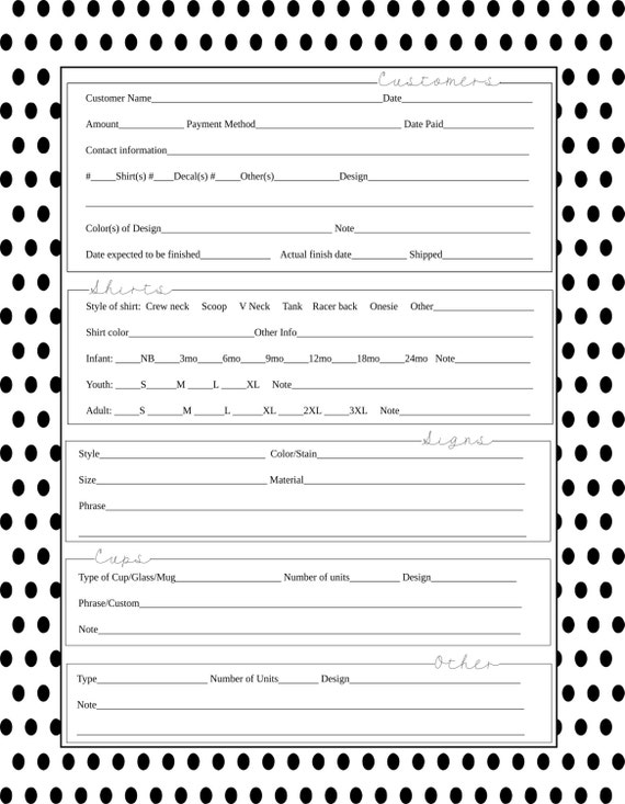 Polka Dot Order Form Vinyl Business Svg File Editable
