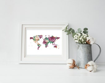 Pink Floral World Map Print, Instant Download