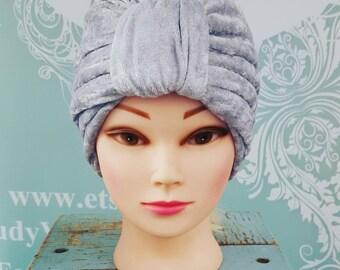 Handmade Vintage Retro Turban in Silver Crushed Velvet